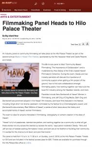 Big Island Now article regarding Jeff Orig speaking on Made in Hawaii Film Festival Panel